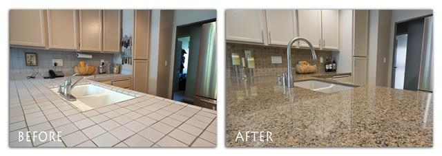 before and after sink and counter top.