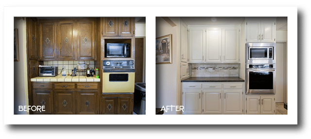 before and after kitchen cabinet refinishing.