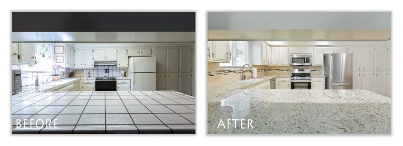 before and after countertop.