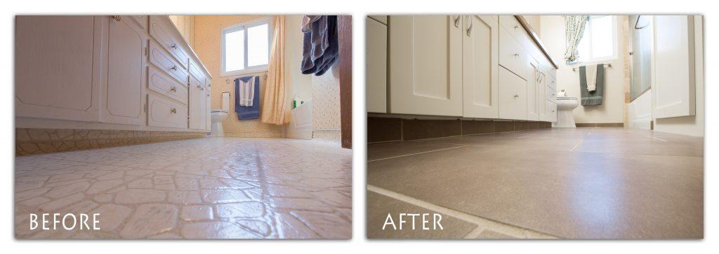 bathroom remodel custom flooring.