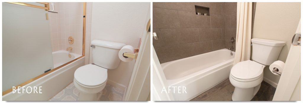 before and after Escalon bathroom remodel.
