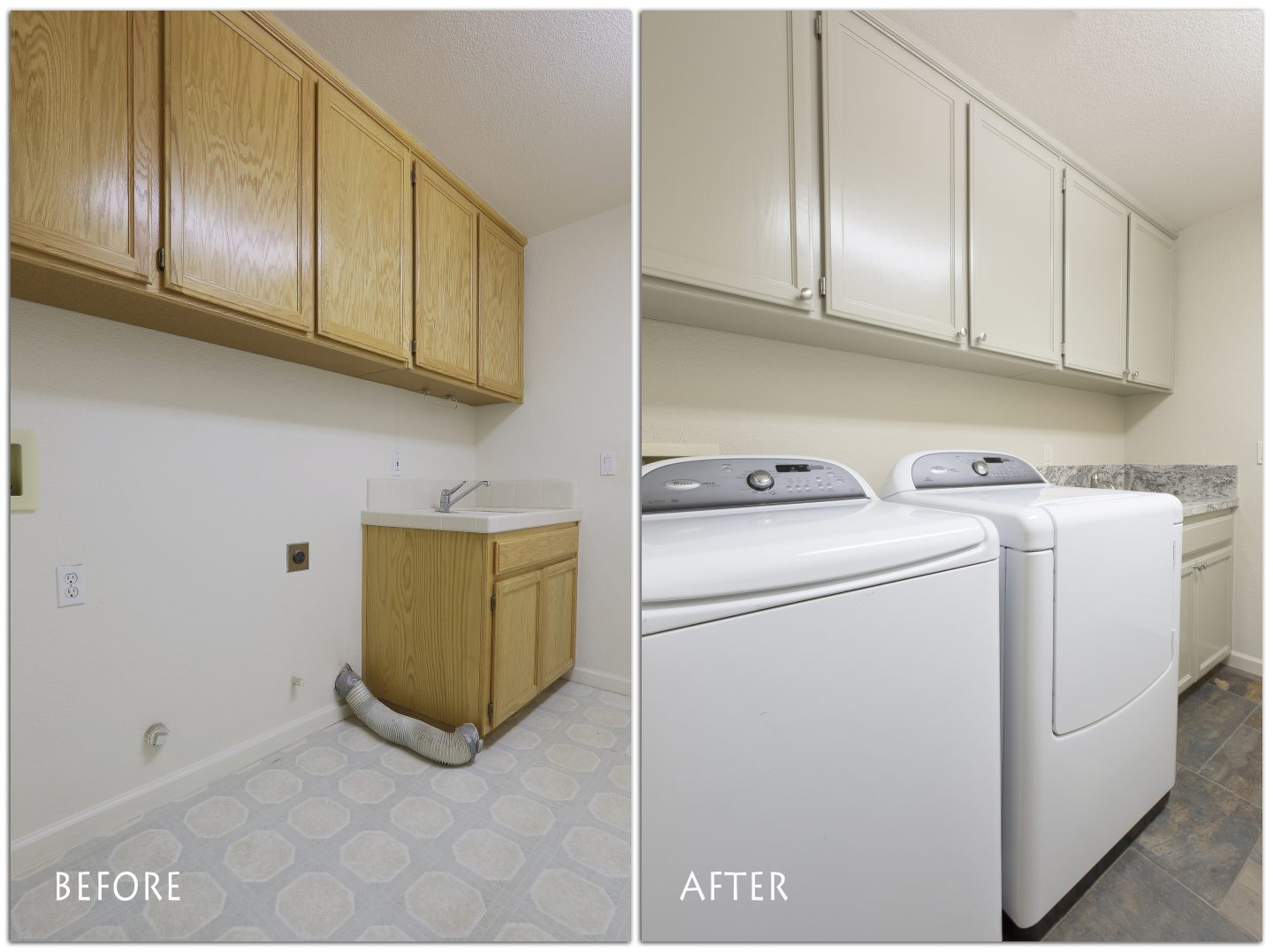 New laundry room cabinets.