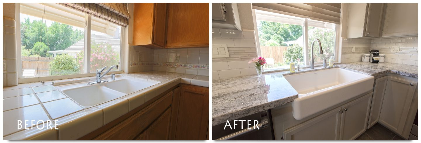 custom counters, sink and backsplash.