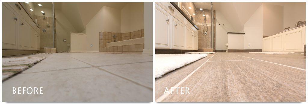 beautiful, new bathroom flooring.