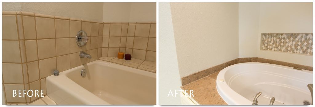 before and after guest bathroom remodel.