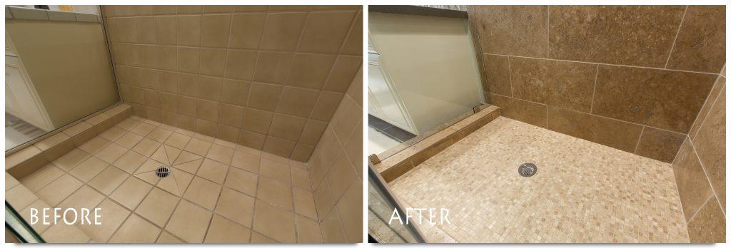 brand new tile shower.