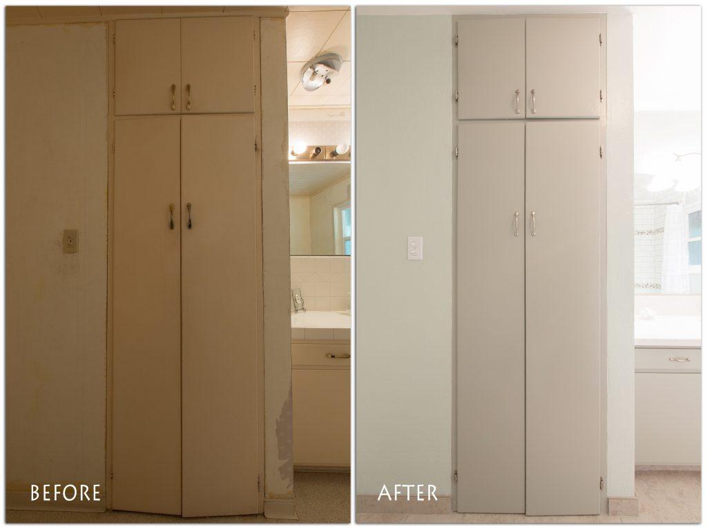 more bathroom storage.