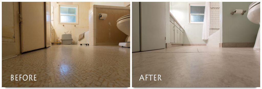 sleek, new bathroom flooring.