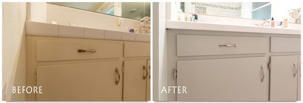 refinished bathroom vanity.