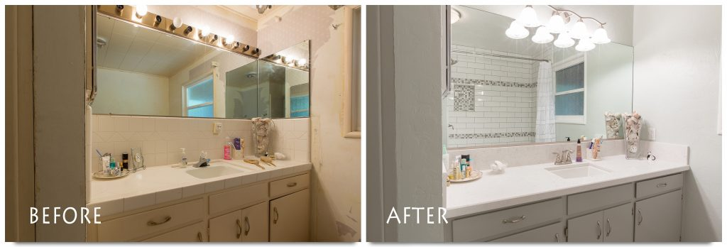 before and after custom vanity.