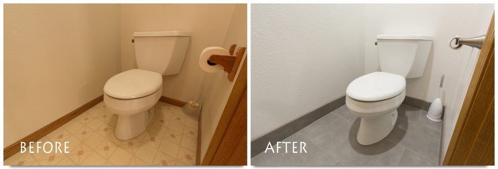 new toilet and flooring.