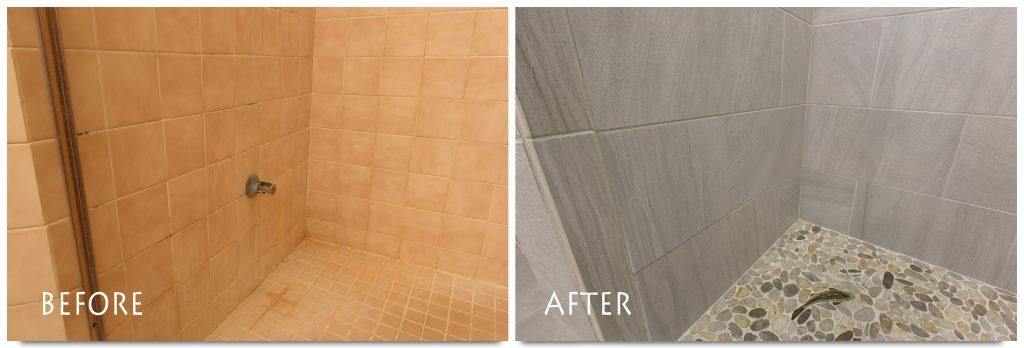 custom, full tile shower remodel in Modesto.