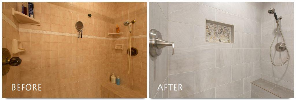 new shampoo nook in shower.