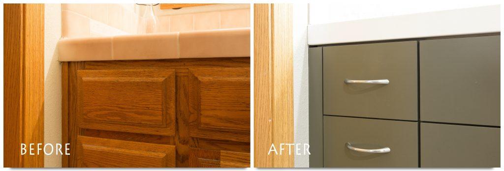 new vanity cabinets with fixtures.