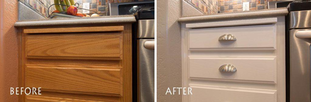modern white cabinet refinishing.