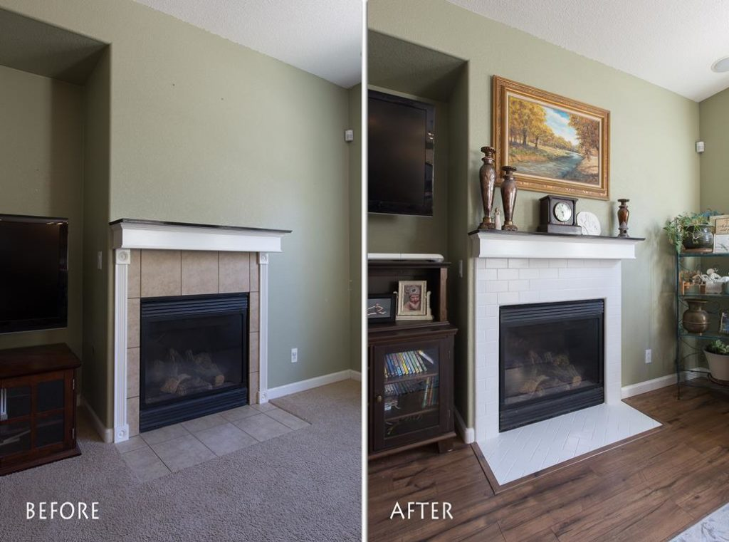 matching refinished fireplace.