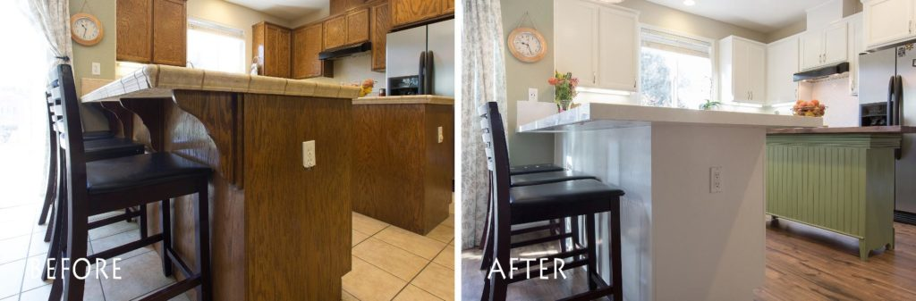before and after custom kitchen bar top and new counter tops.