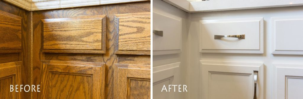 refinished white cabinets.
