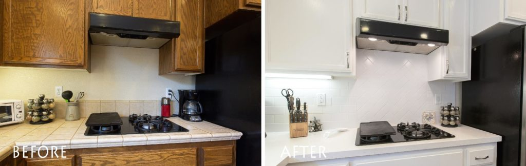 newly refinished cabinets and custom countertop.