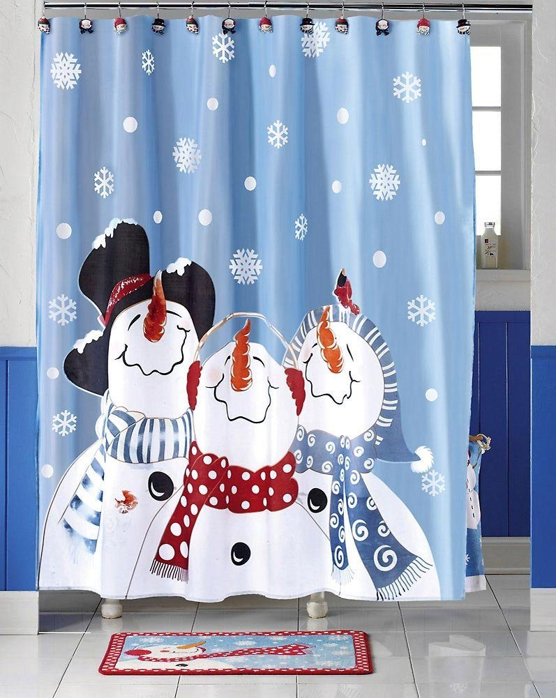 Holiday shower curtain.