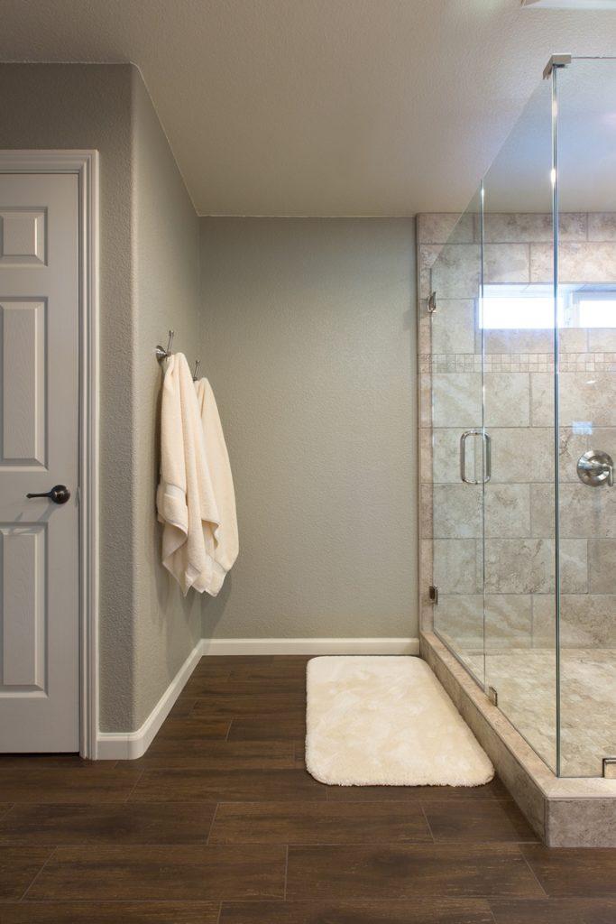 Bathroom wood tile flooring.