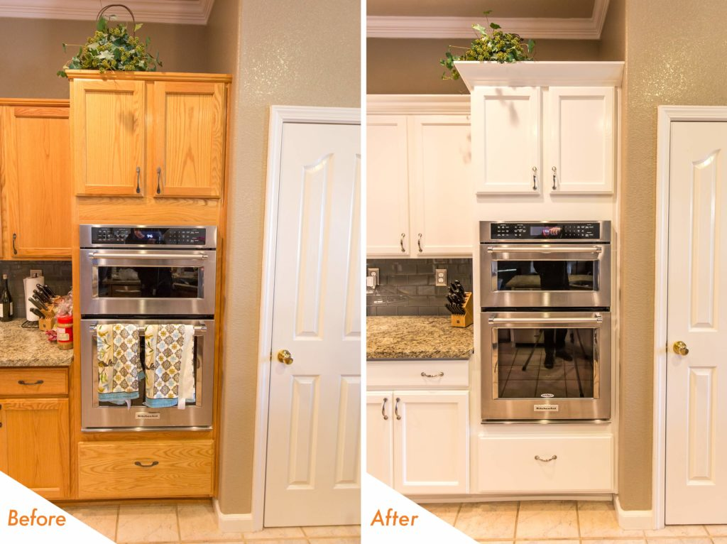 before and after white kitchen cabinets.