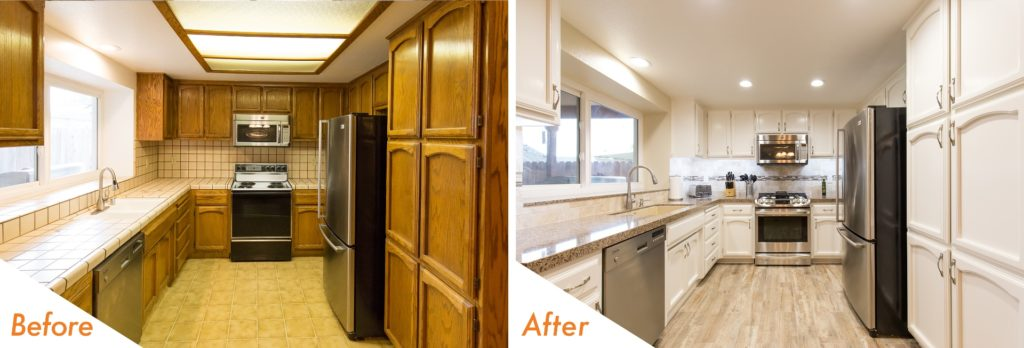Before and after kitchen remodeling.