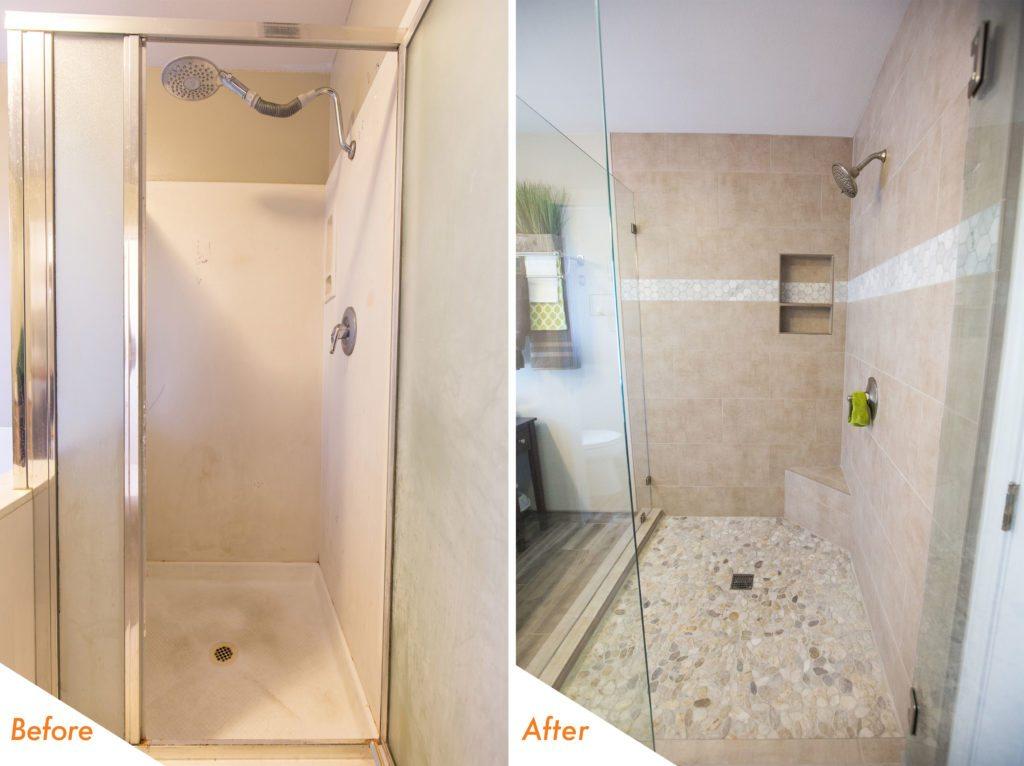 custom-built walk in shower in Manteca.