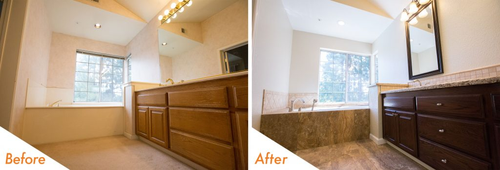 before and after bathroom remodel photo.