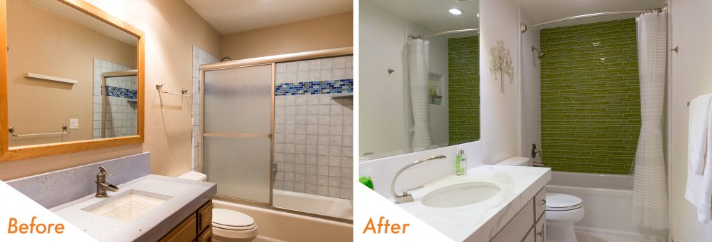 Modern bathroom before and after image.
