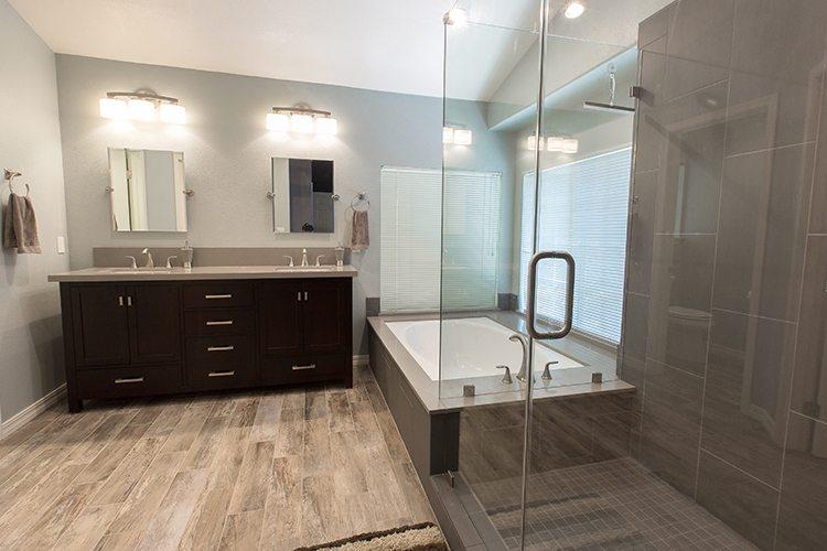 Bathroom remodel with heated floors.