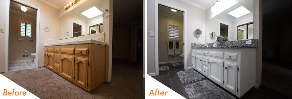 before and after bathroom remodel in Modesto.