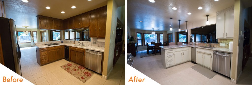 before and after modern kitchen design.