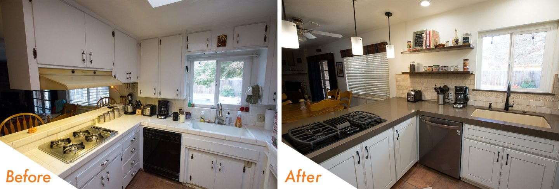 custom counters, cabinets, and backsplash, kitchen remodel.