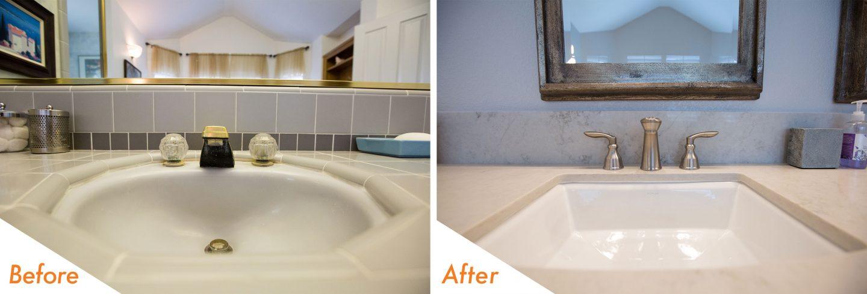 custom bathroom vanity and sink fixtures.