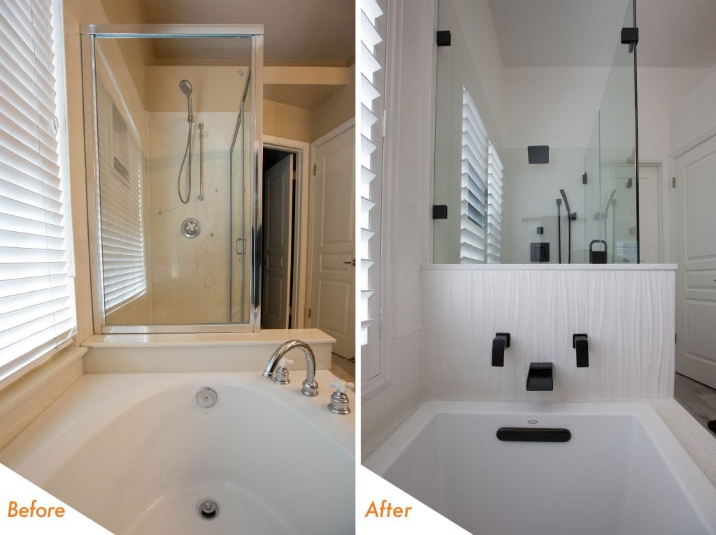 modern tub and shower remodel.