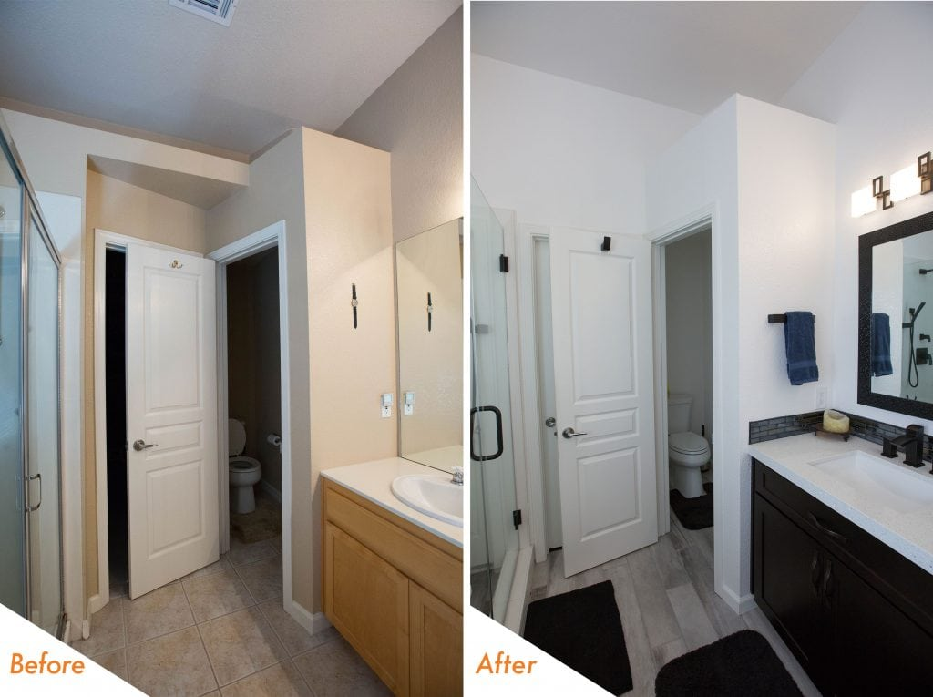 before and after bathroom remodel in Livermore.