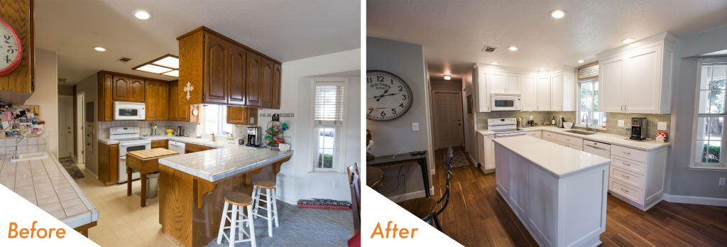 before and after custom cabinets.