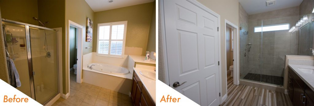 before and after bathroom remodel in brentwood.