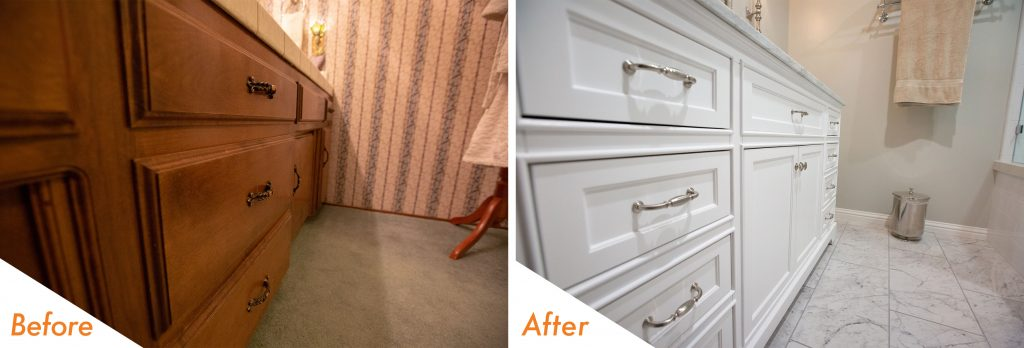 before and after custom bathroom cabinets.