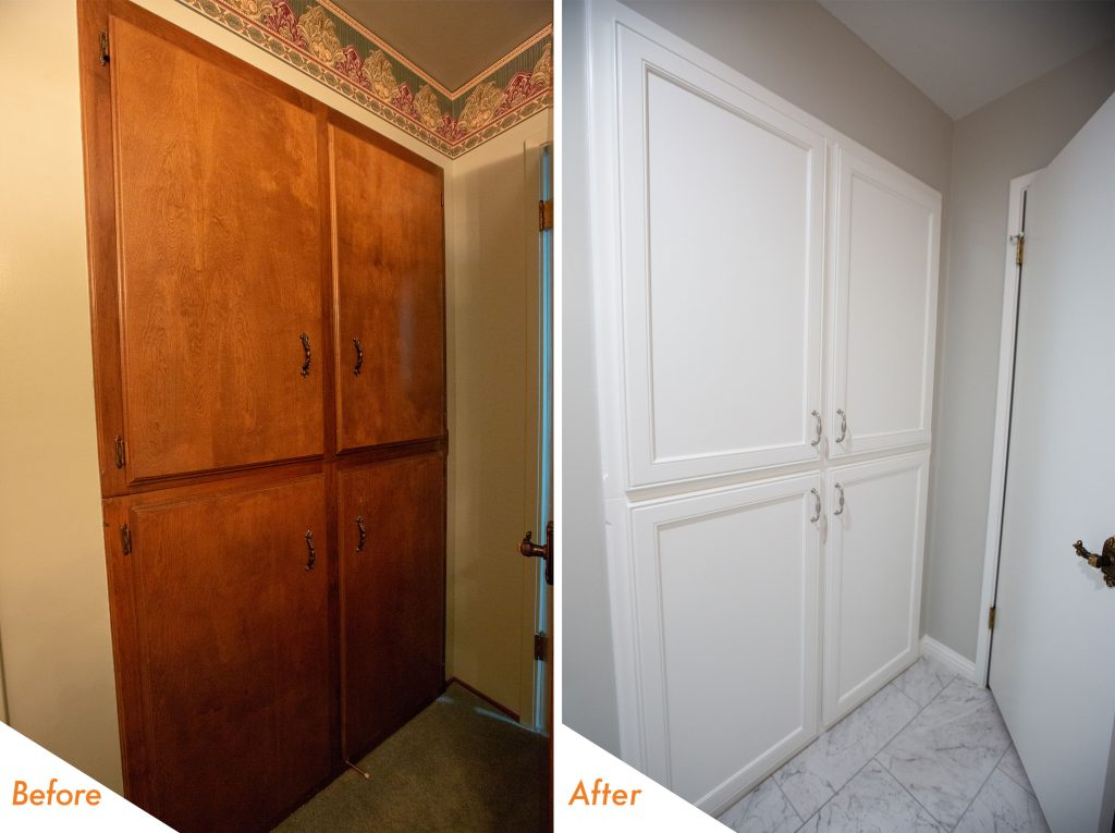 cabinets refinished in Kelly-Moore Whitest White Park Dura Poxy.