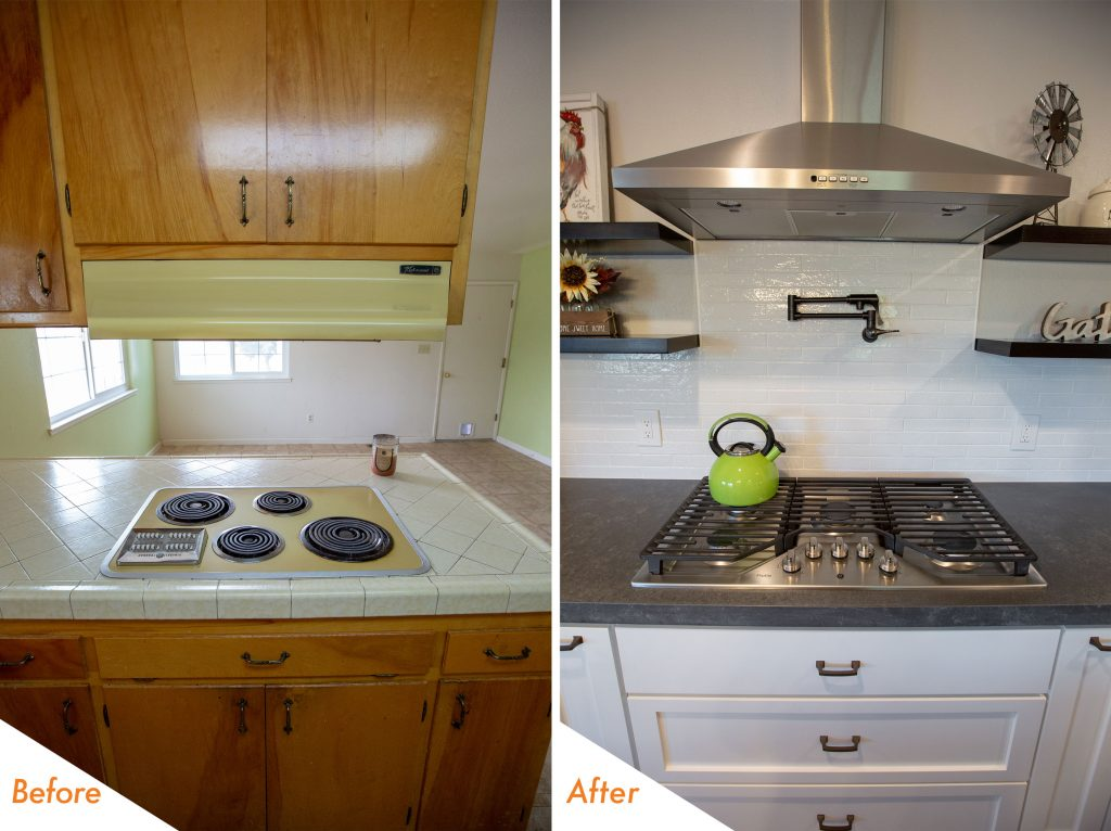 Before and after stove, and counter top.