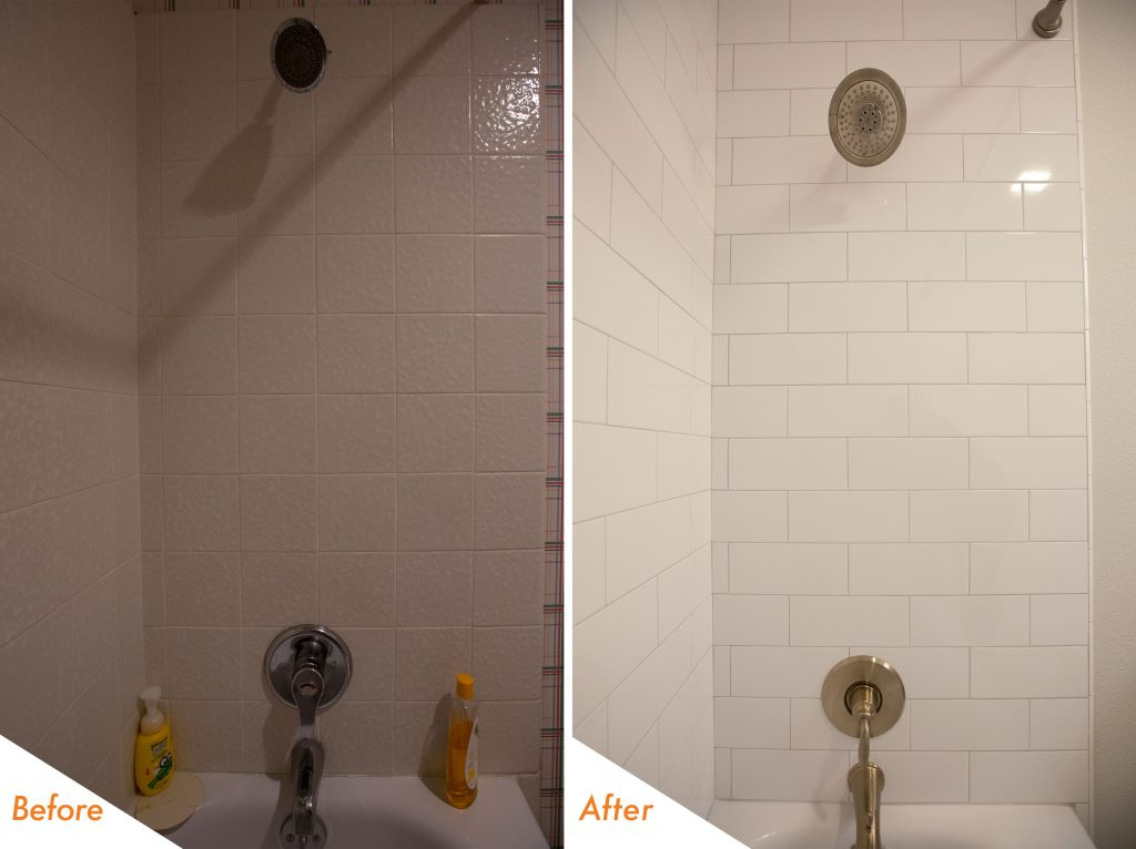 Before and after custom shower tile