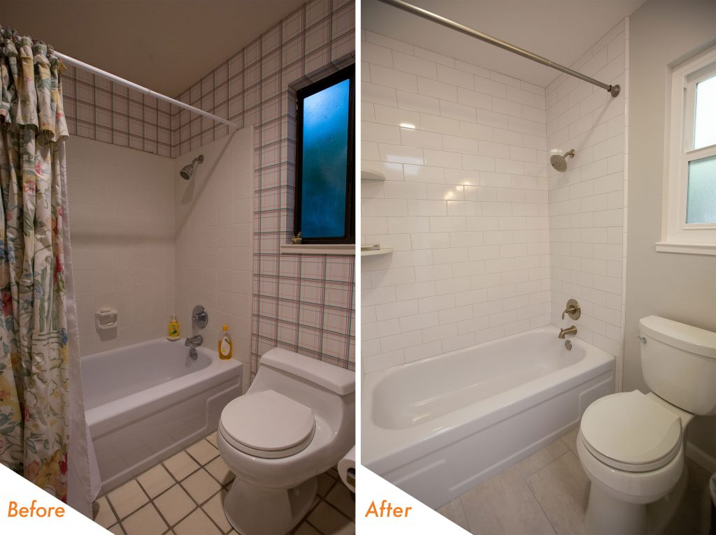 Before and after shower and tub.