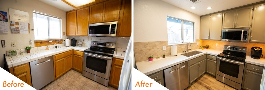 Kitchen remodel with custom backsplash.