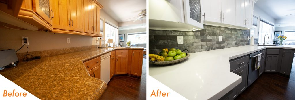 Custom counter tops and backslash.