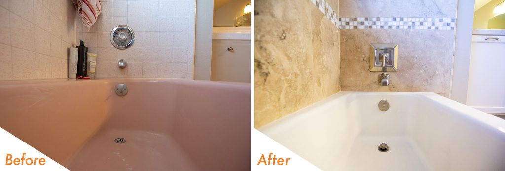 before and after shower tile and bath tub.