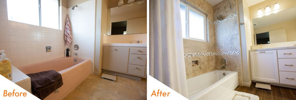 before and after custom bathroom remodel.