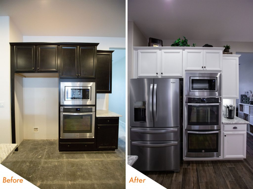 before and after new kitchen appliances.