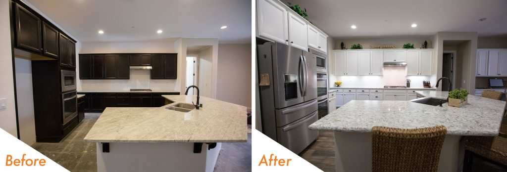 before and after modern kitchen renovation.